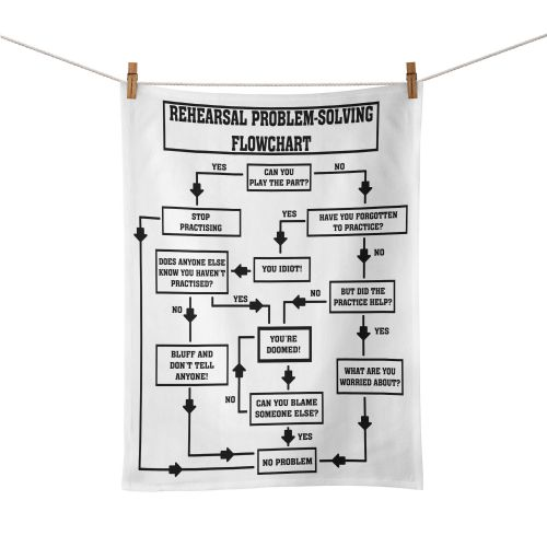 Rehearsal Problem Solving Flowchart Novelty Gift Funny Music  Tea Towel